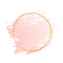 Pink Brush Stroke With Golden ...