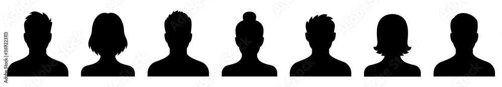 Fototapeta Avatar icon. Profile icons set. People icon. Man head. Woman head. Male and female avatars. Vector illustration