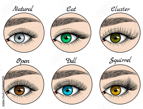Photo Kinds of lashes sets on blue, green, grey and brown eyes with brows