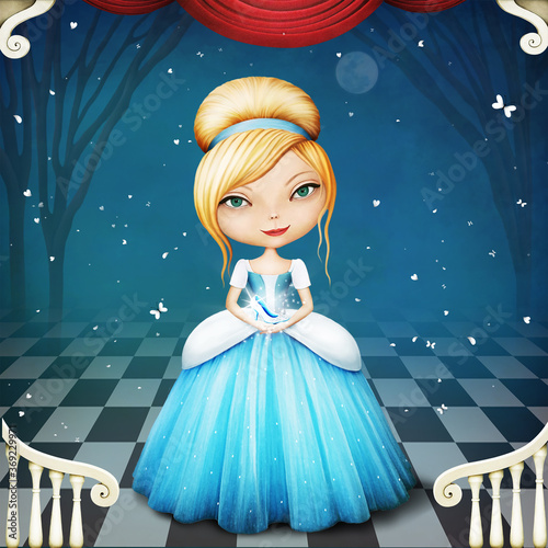 Fotografiet Fantasy fairy tale illustration or postcard or poster with a lovely Cinderella holding a shoe in her hands