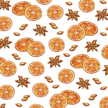 Watercolor Background - Spices Pattern: Dried Orange, Anise And Anise Seeds.