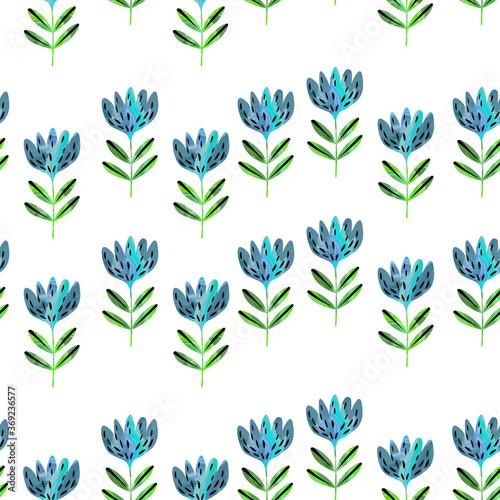 Canvastavla Seamless floral pattern based on traditional folk art ornaments