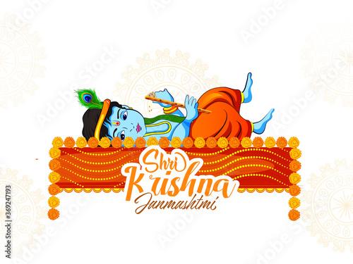 Obraz Innovative illustration of banner, card poster for Lord Krishna in Happy Janmashtami festival of India ,Shri Krishan Janmashtami - fototapety do salonu