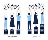 Equality and Equity Concept Illustration. Human Rights, Equal Opportunities and Respective Needs. Modern Design Vector Illustration
