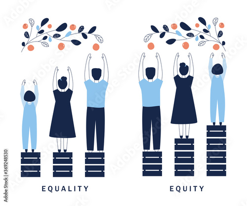 Obraz Equality and Equity Concept Illustration. Human Rights, Equal Opportunities and Respective Needs. Modern Design Vector Illustration - fototapety do salonu