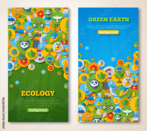 Photo Vertical Banners Set with Icons of Ecology, Environment, Green Energy and Pollution