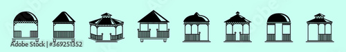 set of gazebo with various models isolated on blue Fototapet