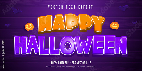 Leinwand Poster Happy halloween text, cartoon style editable text effect on purple wooden backgr