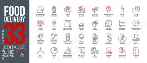 icons set online order and food delivery service for mobile app Fototapet