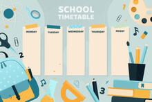 School Timetable With Cute Col...