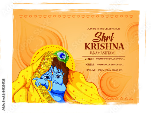 Obraz illustration of Lord Krishna playing flute on Happy Janmashtami holiday Indian festival greeting background - fototapety do salonu