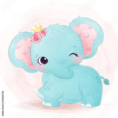 Obraz Adorable baby elephant illustration in watercolor. cute animal illustration, animal clip-art, baby shower decoration, watercolor illustration.  - fototapety do salonu