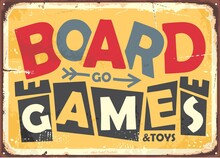 Board Game Design In Retro Style With Yellow Background And Text In The Middle Of The Picture. Vector Vintage Illustration.