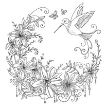 Coloring Flowers And Birds 4