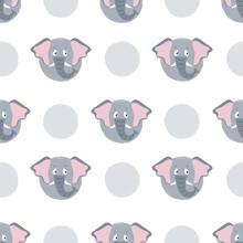 Seamless Cartoon Elephant Pattern. Polka Dot Background For Kids.