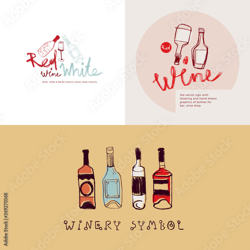 Fotomural Vector wine emblems for restaurant logo design, bar sign, local wine events with wine glass icons in trendy line style