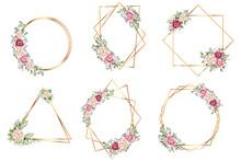 Botanical Gold Geometrical Polyhedron. Botanical Gold Geometrical Polyhedron, Floral Art Deco Style For Wedding Invitation Cards, Luxury Templates