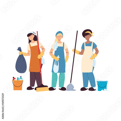 Obraz cleaning service team with gloves and cleaning utensils - fototapety do salonu
