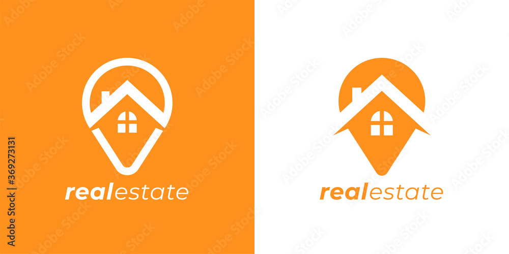 Fototapeta Real estate agency logo emblem. Concept realty place marker house pin sign. Local realtor property business symbol. Home GPS location point icon. Vector illustration.