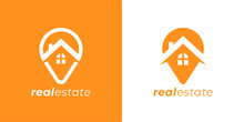 Real Estate Agency Logo Emblem. Concept Realty Place Marker House Pin Sign. Local Realtor Property Business Symbol. Home GPS Location Point Icon. Vector Illustration.