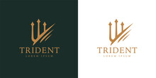Gold Trident Logo Icon. Premium Corporate Company Brand Identity Emblem. Abstract Forked Spear Sign. Devils Pitchfork Symbol. Vector Illustration.