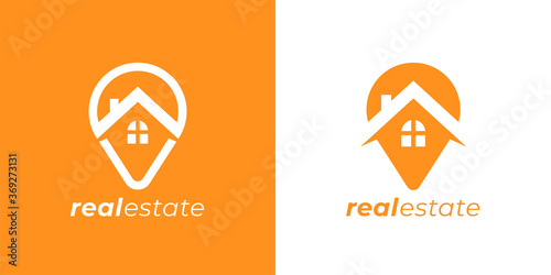 Obraz Real estate agency logo emblem. Concept realty place marker house pin sign. Local realtor property business symbol. Home GPS location point icon. Vector illustration. - fototapety do salonu