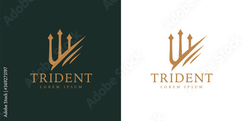 Canvas-taulu Gold trident logo icon