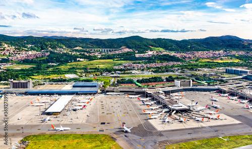 Obraz Aerial view of Guarulhos airport in Sao Paulo, Brazil - fototapety do salonu