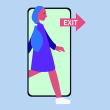 Vector Concept Of Digital Detox. A Woman Exits From The Screen Of A Mobile Phone.