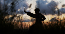 Silhouette Of A Man Practicing Martial Arts On A Sunset. Kung Fu