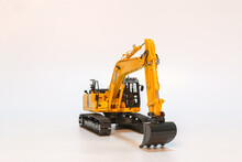 Yellow Excavator  Model On  A White Background