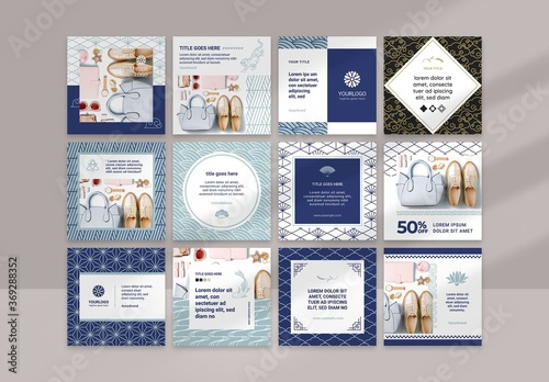 Fototapeta Social Media Layouts with Blue Geometric Asian Style Patterns obraz