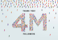 Thank You 4 Million Or Four Million Followers Design Concept Made Of People Crowd Vector Illustration.