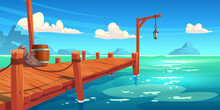 Wooden Pier On River, Lake Or Sea Landscape, Wharf With Ropes, Lantern, Wood Barrel And Sacks On Picturesque Background With Blue Water, Clouds In Sky And Mountains View. Cartoon Vector Illustration