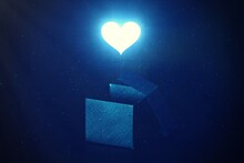 Love And Peaceful,Shining Blue Heart Shape Sign Above The Open Secret Gift Box Abstract Sign  Of Love And Happiness Secret Gift .
