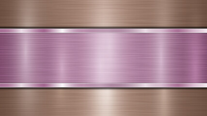 Background consisting of a bronze shiny metallic surface and one horizontal polished purple plate located centrally, with a metal texture, glares and burnished edges