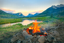 Campfire In The Rocky Mountains, Wyoming, USA.