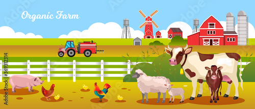 Foto Organic farm vector illustration with cow, sheep, lamb, chicken, rooster, pig, tractor