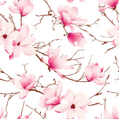 Panel Szklany Vintage Delicate magnolia flowers seamless vector pattern