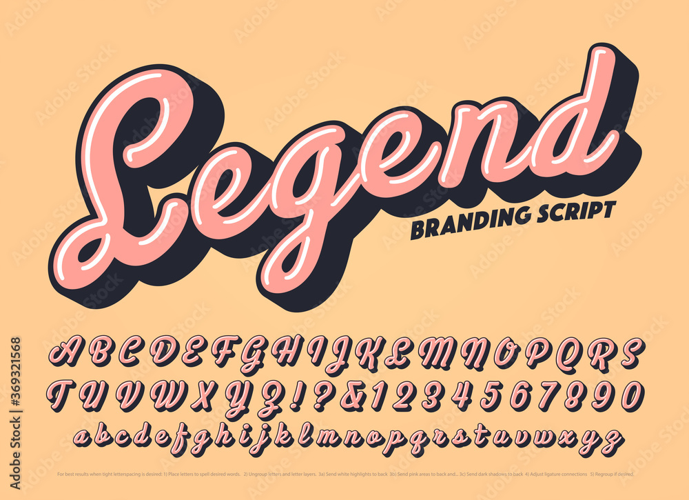 Fototapeta Vector Bold Script Alphabet. Legend Font is a Cursive Branding Calligraphy Lettering Style with a Retro Vibe. Warm Colored Thick Typography with Highlights and Cast Shadows.