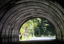 A Road Going Through A Tunnel Towards Trees.