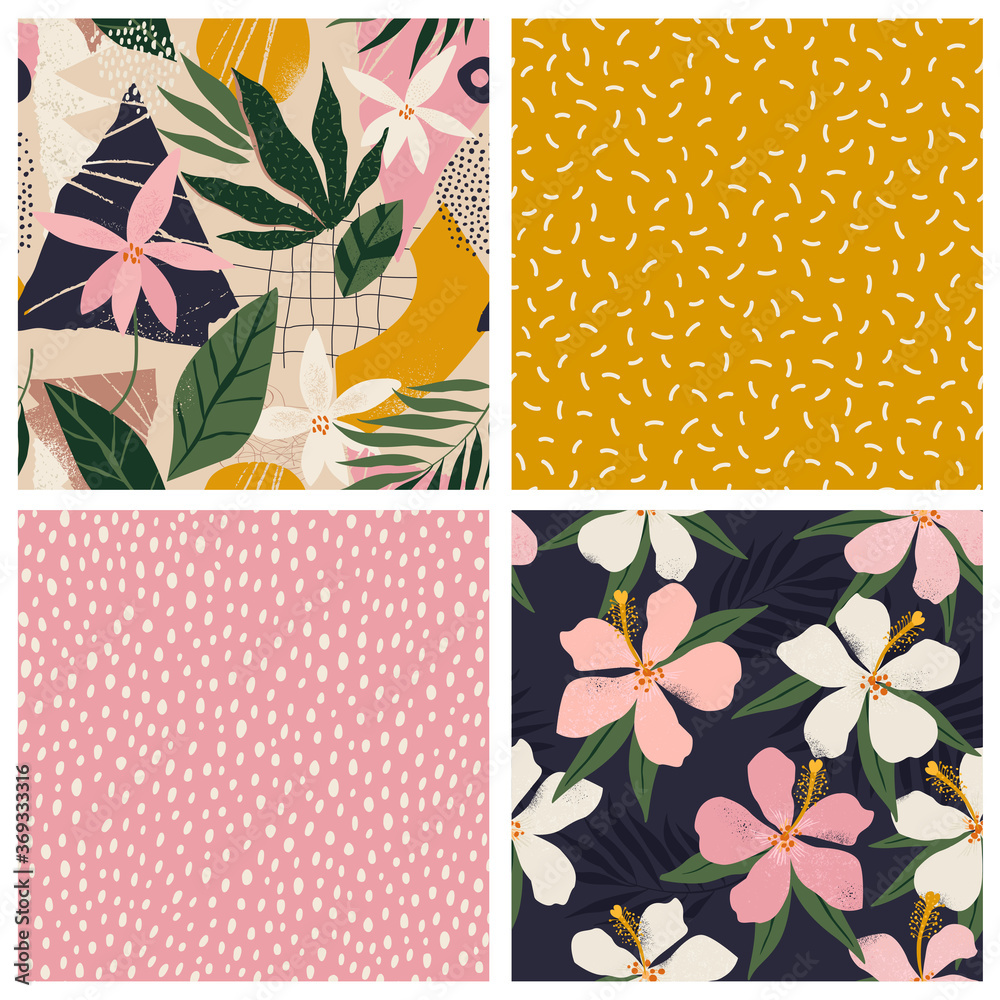 Fototapeta Collage contemporary floral and polka dot shapes seamless pattern set.