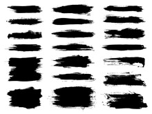 Vector Black Brush Stroke Set. Grunge Paintbrush Banner, Box, Frame. Dirty Distress Pattern Banners For Posts. Rectangle Text Boxes Or Speech Bubbles. Black Paint Brush Stroke. Scratch Box Or Frame.