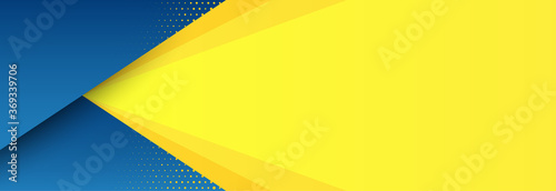 Obraz Abstract background with modern futuristic graphic. Yellow background with stripes. Dotted texture poster design, yellow and blue banner. Geometric pattern template with yellow solar effect. Vector - fototapety do salonu