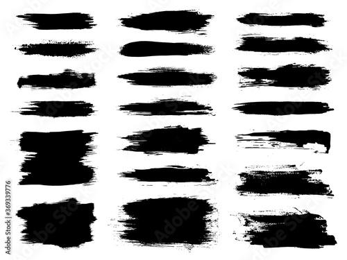 Photo Vector black brush stroke set