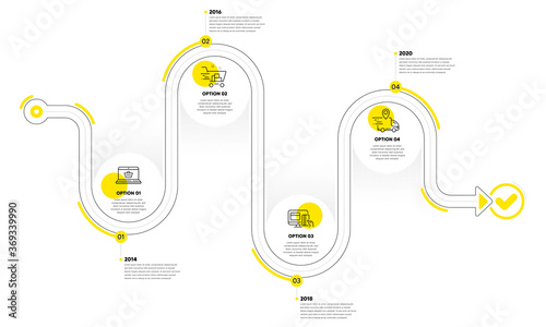 Obraz Infographic timeline with icons and 4 steps. Buying process with numbers. Infographics business concept. Online buying plan, presentation timeline, arrow path. Business journey process. Vector - fototapety do salonu