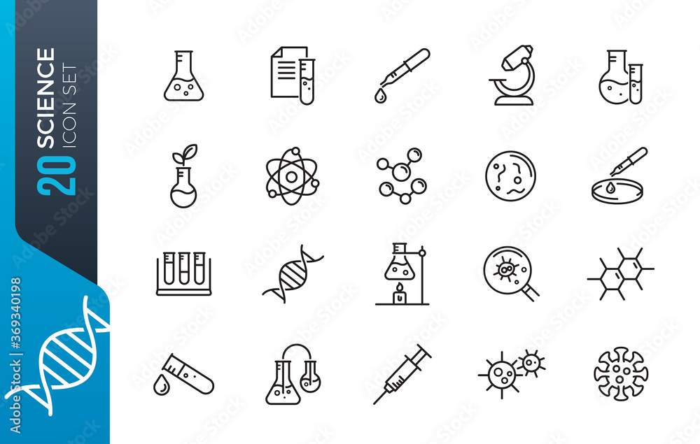 Fototapeta minimal science icon set