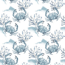 Pattern With Sea Crabs On A Background Of White Corals, Watercolor Illustration In Blue