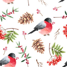 Pattern With Red Birds Cones, ...