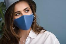 Woman Wearing Stylish Protecti...